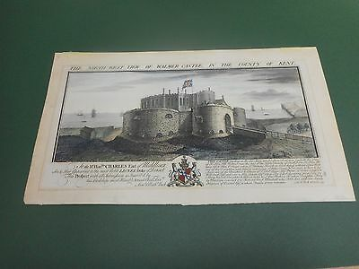 100% Original Prospect View Of Walmer Castle Kent Engraving  By  Buck C1738