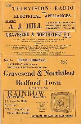 GRAVESEND & NORTHFLEET v BEDFORD TOWN 1961/62 SOUTHERN LEAGUE