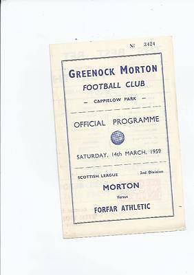Morton v Forfar Football Programme 1958/59