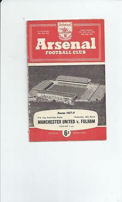 Manchester United v Fulham FA Cup Semi Final Replay Programme 1958 @ Arsenal