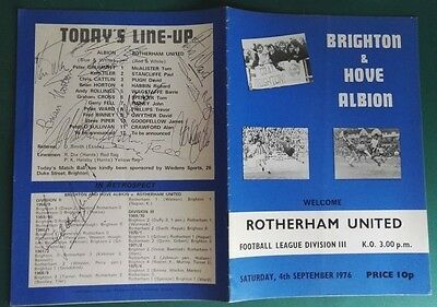 1976-77 BRIGHTON & HOVE ALBION v ROTHERHAM UNITED SIGNED PROGRAMME x 12 PLAYERS.
