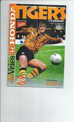 Hull City v Scarborough Coca Cola Cup Football Programme 1994/95