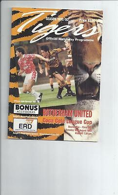 Hull City v Rotherham United Coca Cola Cup Football Programme 1992/93