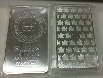 Royal Canadian Mint Silver 10 Ounce Bar .9999 Pure R.c.m. Serial Number Sealed