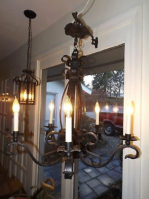 "Vintage 26"" Hand Made Gothic Wrought Iron Bent Ribbon Iron 5 Light Chandelier"