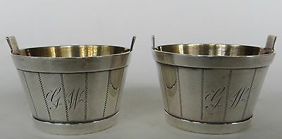 Pair Antique Sterling Silver & Gilt Bucket Form Salt Cellars Whiting