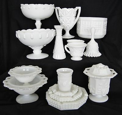 Lot of 16 Vintage Milk Glass Items Mugs Vases Bell Hobnail Grapes Open Lace 4947