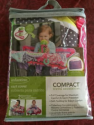 Infantino Compact Cart Cover Pink Multi Shopping Cart Highchair Cup Strap New
