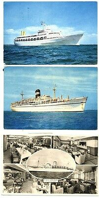 Three Postcards featuring Cruise Ships