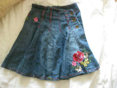 Next Girls Denim Skirt age 4 Years Old  embroidered flowers gorgeous