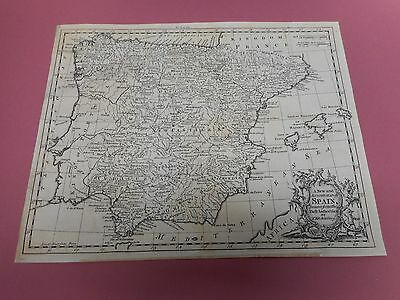100% Original Spain  Map By T Kitchin C1785