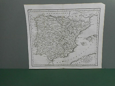 100% Original Spain And Portugal  Map By Guthrie C1806 Vgc