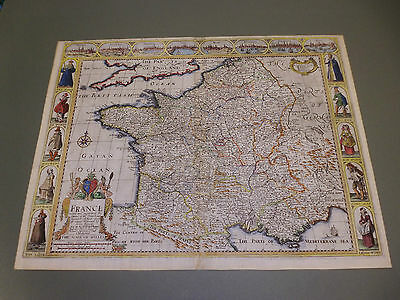 100% Original France Map By John Speed C1676 Edition Vgc  Hand Coloured