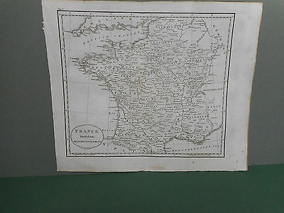 100% Original France With Military Areas  Map By Guthrie C1806 Vgc