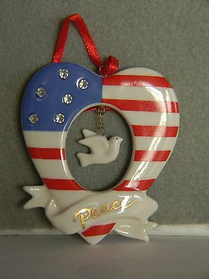 "Avon - Stars And Stripes Ornament - Patriotic Heart With Dove Of Peace - 3"" 2004"