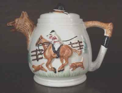 Collectors Tea Pot - Fox Head Spout With Horse And Rider