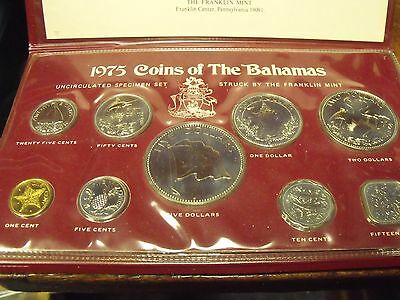 "1975 Franklin Mint ""Bahamas"" Uncirculated Coins Set & Case MIB"