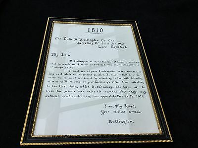 A FRAMED 1810 Copy OF A LETTER FROM THE DUKE OF WELLINGTON VERY STRONG HISTORY