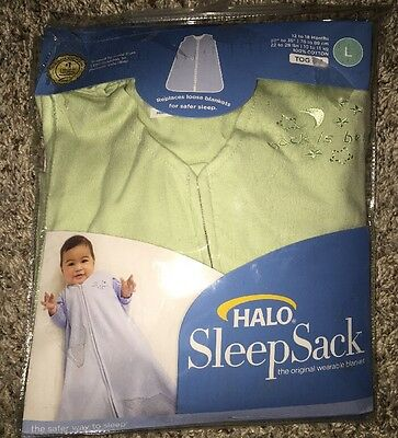 HALO SleepSack 100% Cotton Wearable Blanket, Light Green, Large 12-18 Months!new