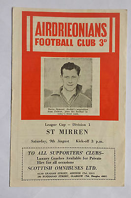 Airdrie v St Mirren 9th August 1958 Scottish League Cup Programme