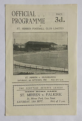 St Mirren v Kilmarnock 6th September 1958 Scottish League Match Programme