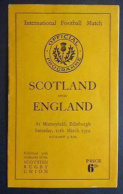 Scotland v England 15th March 1952 Rugby Union Official Programme