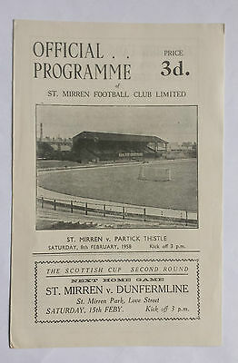 St Mirren v Partick Thistle 8th February 1958 Scottish League Match Programme