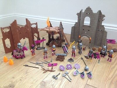 Playmobil Barbarian Assult Tower (4439) and Knights Castle Ruin (4435)