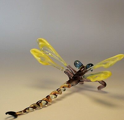 VIDEO Figurine Murano glass DRAGONFLY handmade miniature Lampwork Insect OOAK