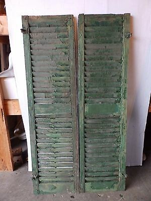 Pair Antique Shutters Door Window Louvered Vintage Painted Old 16x58 2249-16