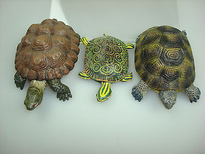 3 vintage REALISTIC  TURTLE FIGURINES HOME DECOR, TERRAPIN, SMALL ACCENT TURTLES