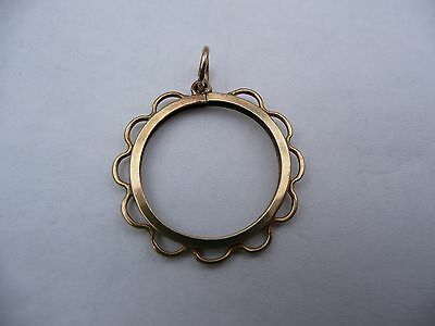 Super Vintage 9Ct Solid Gold Half Sovereign Coin Pendant Mount