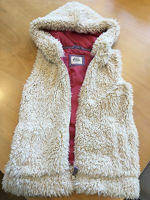 Girls Mini Boden Furry Gilet With Hood - Size 7-8 Yrs