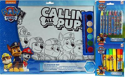 Paw Patrol 3 Piece Colouring Poster Art Set - With Crayons / Washable Markers