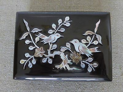 Small Black Laquered Box with Inlaid Decoration