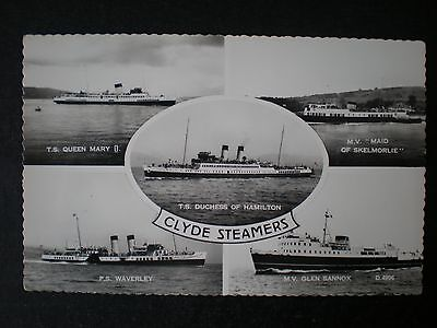 Clyde Steamers Glasgow Lanarkshire Scotland shipping RP postcard