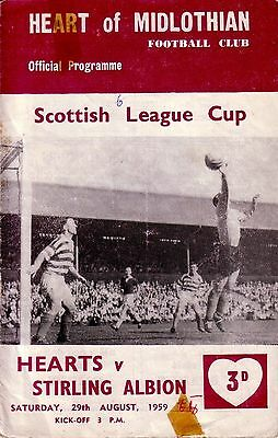 HEARTS v STIRLING ALBION 1959/60 LEAGUE CUP