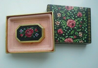 Vintage Avon Needle Point/Embroidered Pill/Trinket Box / Solid Perfume with Box