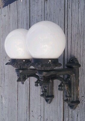 Antique Pair Cast Metal Sconces with Shades Industrial Gothic In Or Outdoor