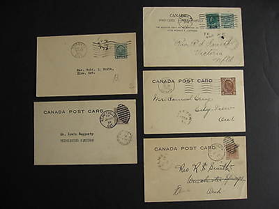CANADA 5 old postcards with split ring cancels, check them out!