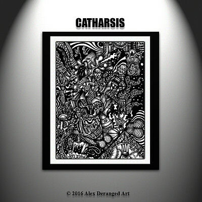 Abstract Outsider Psychedelic Trippy Art Folk Raw Black Ink Original Drawing