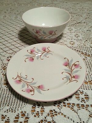 Royal Standard china Caprice pink grey floral bowl and plate 1950s 1960s