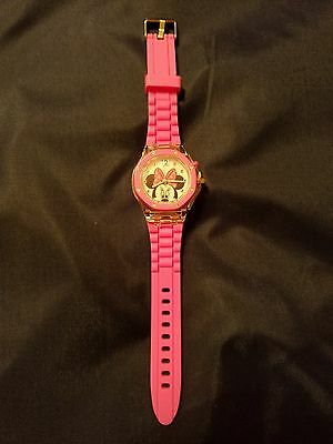 """Accutime Disney """"minnie Mouse"""" Girls Flashing Watch W/adjustable Silicone Band"""