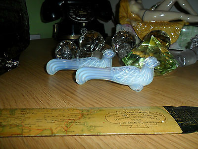 Sabino Opalescent Glass Peacock knife rests signed Sabino x 2
