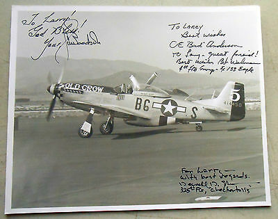 """8 x 10"""" B and W Photo Signed by 3 US WW2 Aces- Goodsen, Anderson, and Green"""