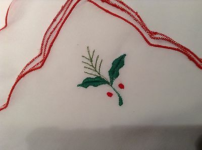 """Christmas Table Napkins set of 12  Holly embroidered corners 15.75 """" square"""