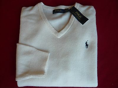 NWT Ralph Lauren Polo 100% Lambs Wool V-Neck Ivory Sweater  size Large L,