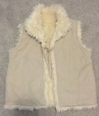 Gorgeous Next Girls Cream Fur Reversible Gilet, Age 5-6