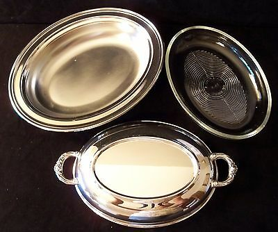 TOWLE SILVERPLATE OVAL COVERED HANDLED CASSEROLE BOWL w GLASS INSERT