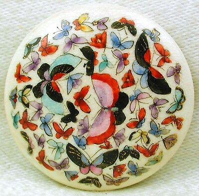 """Antique Meiji Satsuma Button Curved Needle - 100 Butterfly Scene - 1 & 5/16"""""""